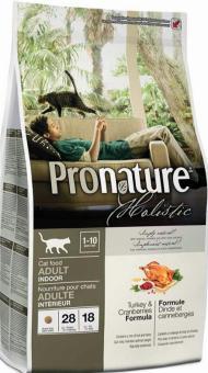 Pronature Holistic 5,44кг Adult indoor turkey cranberries Сухой корм для взрослых кошек живущих в помещении с индейкой и клюквой