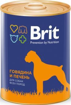 Brit 850гр Premium консервы для собак Говядина и печень