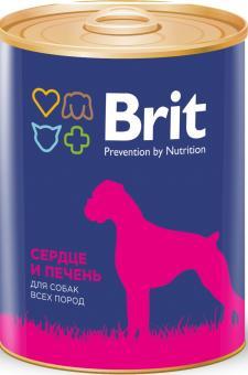 Brit 850гр Premium консервы для собак с сердцем и печенью