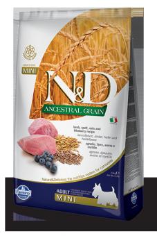 Farmina 2,5 кг N&D Low Grain Lamb & Blueberry Adult Mini Корм для взрослых собак мелких пород