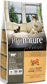 Pronature Holistic 5,44кг Adult duck orange Сухой корм беззерновой для взрослых кошек утка с апельсином