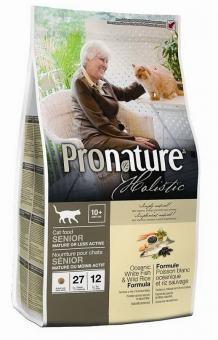 Pronature Holistic 2,72кг Senior 10+ Сухой корм для кошек пожилых или малоактивных океаническая белая рыба и канадский дикий рис