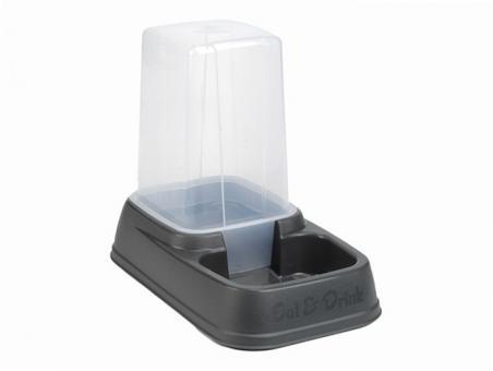 Beeztees Миска 33,5*20*27см дозатор для корма или воды, пластиковая антрацитовая