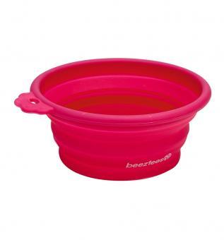 Beeztees Миска 14*12,5см силиконовая складывающаяся розовая