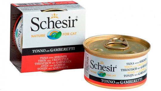 6шт. Schesir 85г. Тунец+креветки, консервы для врослых кошек
