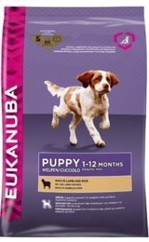 Eukanuba 12 кг. Puppy junior lamb rice Сухой корм для щенков всех пород ягненок рис