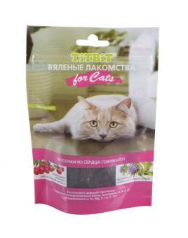 TiTBiT 50г Вяленые лакомства Кусочки из сердца говяжьего для кошек