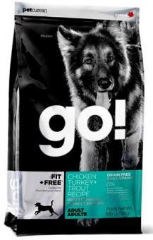 Go Natural 11,35кг 34/16 adult Fit,  All life Stages беззерновой корм для собак всех возрастов 4 вида мяса