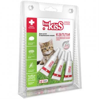 Mr Kiss 1мл Капли от блох и клещей для котят и кошек репеллентные 2кг, 3пипетки
