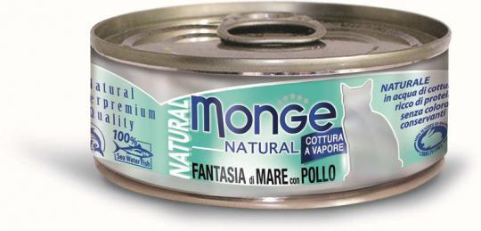 6шт.Monge Cat Natural 80гр консервы для кошек морепродукты с курицей