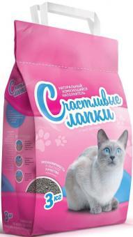 Счастливые лапки 3кг комкующийся наполнитель для кошачьего туалета розовый