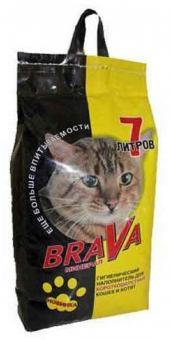 4шт Brava 7л Минерал Наполнитель для гладкошерстных кошек и котят