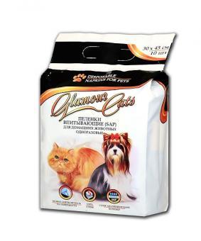 GlamourCats 30x45см 10шт  Гелевые пеленки для животных