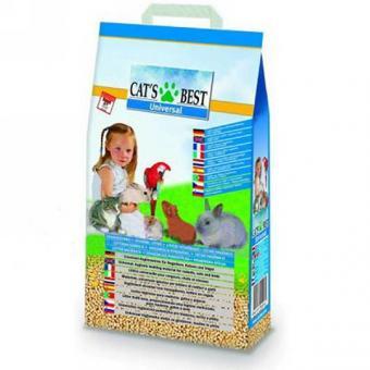 Cat's Best Universal 7л/4кг древесный комкующийся наполнитель для кошачьих туалетов, грызунов и птиц