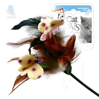 GiGwi (75081) 50158 43см  Игрушка для кошек Дразнилка на стеке с бабочками