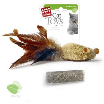 GiGwi (75269) Мышь с пером и контейнером кошачьей мяты.