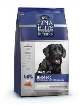 50% скидка на 2-ой мешок Gina 1 кг Elite Grain Free Senior Dog Trout, Salmon, Sweet Potato, Asparagus беззерновой корм для пожилых собак с форелью, лососем, бататом и спаржей