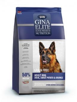 Gina 1 кг Elite Grain Free Adult Dog Duck, Sweet Potato, Orange Полнорационный беззерновой корм для взрослых собак с уткой, бататом и апельсином