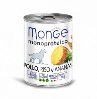 Monge Dog Monoproteico Fruits 400гр консервы для собак паштет из курицы с рисом и ананасами