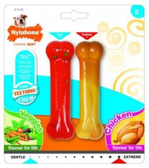 Nylabone Косточка для щенков (2шт: экстра жесткая курица/умеренно-жесткая овощи
