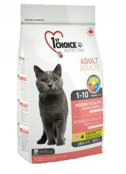 1st Choice 0,35 кг Indoor  Vitality сухой корм для взрослых домашних кошек (на основе курицы)