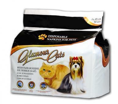 GlamourCats 30x45см 50шт Гелевые пеленки для животных