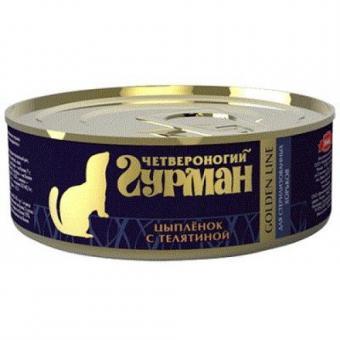 4шт Ч. гурма Golden 100гр Консервы для молодых хорьков Цыпленок с телятиной в желе