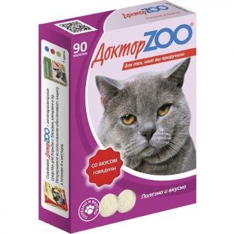 Доктор ZOO 90 таб. со вкусом говядины. Мультивитаминное лакомство для кошек