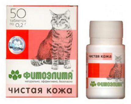 Фитоэлита чистая кожа 50 таб. для профилактики и лечения болезней кожи у кошек
