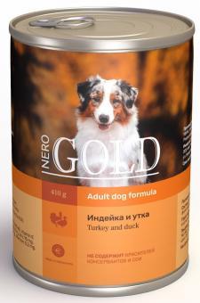 6шт. Nero Gold 410г Turkey and Duck консервы для собак, Индейка и утка