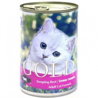 6шт Nero Gold 410г кусочки в желе для кошек Сочная говядина Tempting Beef