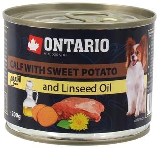 6шт.Ontario 0,2кг Консервы для собак малых пород телятина и батат
