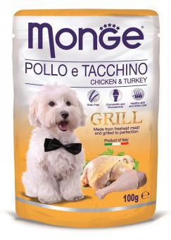 6шт.Monge Dog 100гр Grill Pouch паучи для собак с индейкой