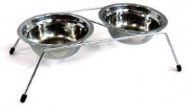 Миски напольные нерегулируемые, 2 металическая миски диаметр 18см 700мл, высота 10см