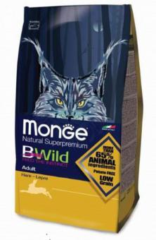 Monge BWild Cat 1,5 кг Hare корм для взрослых кошек с мясом зайца