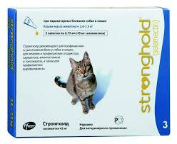 Pfizer СТРОНГХОЛД капли на холку  для кошек от 2 до 7,5кг 6% 3 пипетки по 0,75 мл( 45мграмм-голубая)