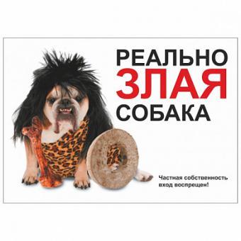 "Табличка 4 ""Реально злая собака"" 216*154"