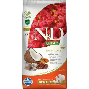 Farmina 1,5кг N&D Cat Grain Free quinoa skin & coat herringБеззерновой корм для взрослых кошек с киноа и сельдью здоровье кожи и шерсти