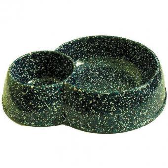 Миска для животных из искуственного камня двойная 0,4л-0,15л.слоновая кость