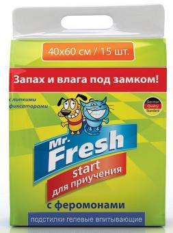 Mr.Fresh Start 40х60см 15шт Подстилки для приучения к месту