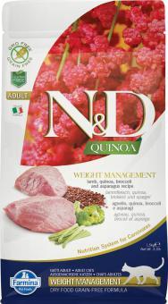 Farmina 0,3кг N&D Cat Grain Free quinoa weight management lamb Беззерновой корм для взрослых кошек с киноа и ягненком контроль веса