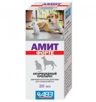 Амит Форте 20 мл для лечения собак и кошек нотоэдроза, саркоптоза, отодектоза и демодекоза