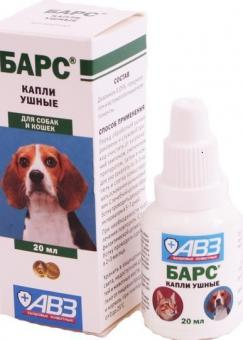 Барс 20 мл капли для лечения отодектоза (ушная чесотка) у собак и кошек