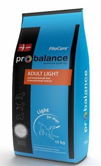 Probalance 15кг Adult Light Корм сухой для взрослых собак с нормальной активностью