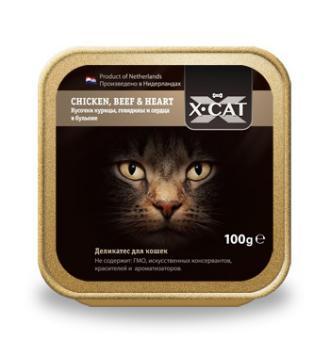 акция (1+1)16шт. X-Cat 100 гр CHICKEN, BEEF HEART Кусочки курицы, говядины и сердца в бульоне,При покупке 1коробки любого вида, вторую Вы получаете в подарок