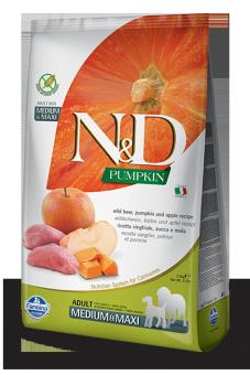 Farmina 12кг N&D Dog Grain Free Pumpkin Boar & Apple Adult Medium & Maxi Беззерновой корм для взрослых собак  средних и крупных пород Кабан и Яблоко с Тыквой