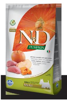 Farmina 0,8кг N&D Dog Grain Free Pumpkin Boar & Apple Adult Mini Беззерновой корм для взрослых собак мелких пород Кабан и Яблоко с Тыквой