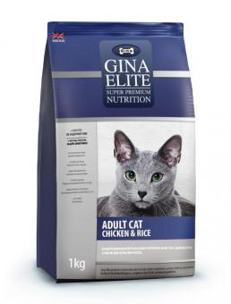 Скидка 50% на 2-ой мешок корма Gina 1кг Elite Cat Chicken&Rice UK Сухой корм суперпремиум класса для взрослых кошек