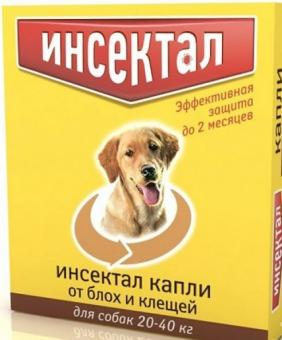 Экопром Инсектал Капли д/собак 20-40кг от блох и клещей