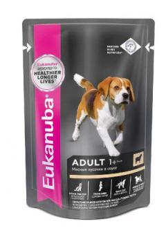 24шт.Eukanuba 100г паучи корм для собак с ягненком в соусе